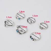 Cheap 6PCS Vintage Turkish Beach Punk Moon Arrow Ring Set Ethnic Carved Silver Plated Boho Midi Finger Ring Knuckle Charm anelli