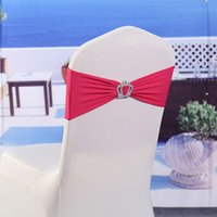 Wholesale 200pcs Elastic Lycra Chair Sashes Wedding Spandex Stretch Chair Band With Plastic Crown Buckle Colors Wedding Chair Bands DHL Free