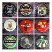 tin crafts - 40cm Retro Vintage Metal Round Beer Sign Bottle Cap Tin signs Home Garage Diner Pub Bar Craft Wall Painting Decor