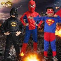 batman shop - 2016 Brand New Superman Spiderman Batman Suit Costumes For Kid Boy Festival Halloween Costume Drop Shopping