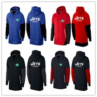 american jets - winter Hooded zipper unlined upper garment New York cheap Jets hoodies American football hoodies cheap men Sweatshirts size M XL