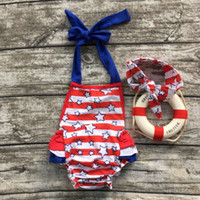 Cheap 2016 new baby girls belt red and blue star print romper infant clothing July 4th boutique outfits with matching headband set