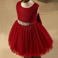 Wholesale Wine Red Short Flower Girl Dresses A Line O Neck Pleat Bow Kids Gown For Wedding Party Gown