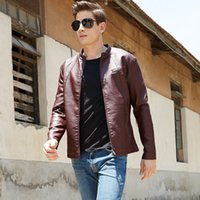Wholesale 2016 new men s leather motorcycle leather jackets sheep skin young han edition cultivate one s morality men s coat