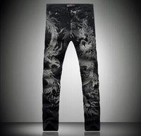 acid graphics - sales D Graphic Lucky Dragon Skinny Jeans Mens Vintage Hiphop Casual Designer Tiger Denim Joggers Punk Pants mix order