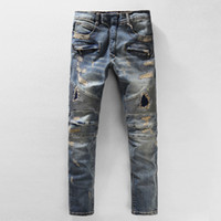 Wholesale Plus Size Men s Jeans Men BALMAIN Jeans Famous Brand Design Balmain Jeans men Distressed Jeans Ripped Denim