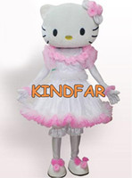 Wholesale Hello Kitty Miss Kitten Cat Mascot Costume Adult Fancy Dress Cartoon Party Outfit Suit