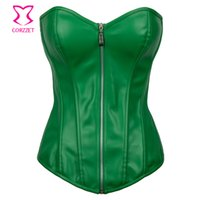 Wholesale XLSexy Green Leather Corset Overbust Steampunk Waist Training Corsets With Zipper Waist Trainer Plus Size Gothic Clothing Women