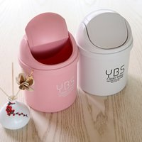 Wholesale Creative Mini Desktop Waste Bin Desk Covered Small Trash Cans Sitting Room Sundry Receive Cleaning Barrel