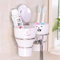 bathroom tumbler sets - Simple Style Sucker Tumbler Holder Bath set With Cups bathroom Wash suit Toothpaste Storage Rack Shelf