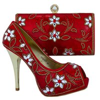 Wholesale 2016 New Italian Shoes And Bags To Matching Set For Evening Party red African Women Shoes And Bag Set With Rhinestones