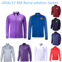 atletico madrid real - TOP THAI QUALITY RM white blue black Real Madrid barclona atletico soccer jacket LONG sleeve Tracksuit football shirt