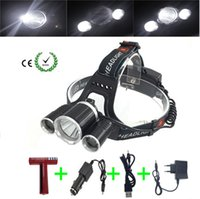 Wholesale Headlight or led bike light4 mode zoom Head Lamp battery car EU US AU UK Plug charger USB