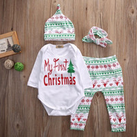 Wholesale 4PCS First Christmas Clothes Set For Newborn Infant Baby Boys Girls Kids Clothes Romper Pants Hat headband Set Bodysuit Outfits Gifts