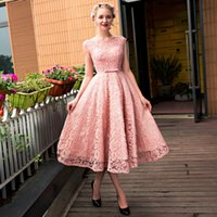 art deco round - Cheap Appliques Short Round neck sleeveless pink formal party evening dresses lace up long gown lace beads tea length