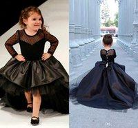 Wholesale 2016 New Black Long Sleeve Flower Girl Dresses For Wedding With Bow Tulle Jewel Neck Puffy Beaded High Low Little Girls Pageant Formal Dress
