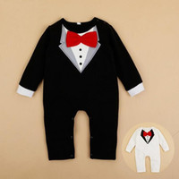 baby winter creeper - Baby Bodysuit Gentleman Style Infant Bow Tie Long Sleeve Creeper Baby Boy and Girl Clothes Baby Body Suit New Born