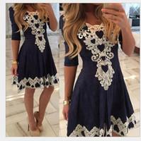 Wholesale Europe America fashion new women Dresses Bud silk lace Round collar Half sleeve Tall waist sexy Knee Length women dress