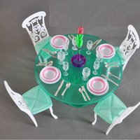 Wholesale New arrival new year birthday gift play house for children furniture for doll Dinner table Set for barbie doll with retail box