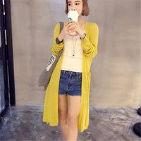 Wholesale Summer Autumn Female New Women s V Neck Pockets Thin Cashmere Pure Cardigan Sweater Coat Sun Protection Clothing