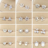 alloy supply - Hot Selling High Quality silver Earrings For Women New Supplies Fashion Jewelry Charm Stud Earrings pairs Beautiful Christmas gift