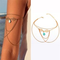 arm charm - Chain Turquois Bracelet Fashion Jewelry Women Lady Personality Punk Gothic Upper Arm Cuff Armlet Armband Bangle Bracelet Arm Chains