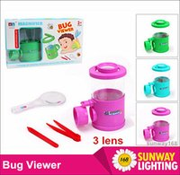 Wholesale Kids toys bug viewer box Magnify watch Group Lens x Magnification Three Magnifier can divide into two kinfe clamp With good retail box