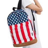 bag english flag - Women American flag backpack fashionable English style shoulder bag students school bag D