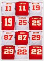 Jersey de la mejor calidad, hombres 11 <b>Alex Smith</b> 19 Jeremy Maclin 25 Jamaal Charles 87 Jersey de la élite de Travis Kelce, blanco y rojo, tamaño 40-60
