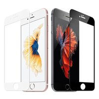 Wholesale 0 mm D Full Cover Iphone plus Tempered Glass Screen Protector Curved Soft Edge High clear colors Factory Foam Pack YH0026 White