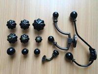 Wholesale Black series single hole ceramic handle European American pumpkin hook flower retro drawer cabinet