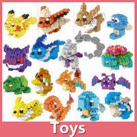 Wholesale Free DHL Poke Go Pikachu Minifigure DIY Building Blocks Style Minifigures Kid Toy Charmander Bulbasaur Jeni Turtle Diamond Toys