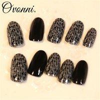 aquarium nail tips - 10 French Tips Nail Designs Full Cover False Nails Decorated Nail Press On Black Fake Acrylic Aquarium Nail Tips