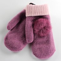 best winter gloves for women - 10pairs Fahion high quanlity winter candy mittens gloves women rabbit fur ball double lay thickness gloves for best christmas gift