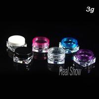 Wholesale in China cosmetic jar transparent white red blue cap sample bottles g mini cream bottle