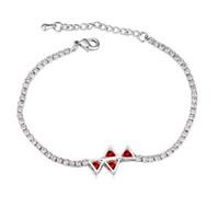 Wholesale Bracelets Jewelry Fashion Women Luxuxry Quality AAA Zircon Crystal Platinum Plated Triangle Alloy Bracelets Drop Shipping TBR005
