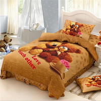 bear quilt fabric - Cute Teddy Bear Bedding Sets Twin Size Bed Sheets Pillowcase Quilt Cover Cotton Printed Fabric Children Cartoon Bedroom Sets