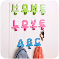 abc housing - ABC Home Love Letter metal adhesive hook Diy cloth Hanger Iron Wall Hooks Key Hanger House Decor Mixed Color
