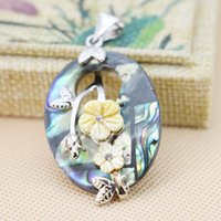 bead embroidered necklace - 30 mm Ethnic Chic Natural Abalone seashells sea shells Material pendants DIY beads Embroider flower jewelry making design gifts