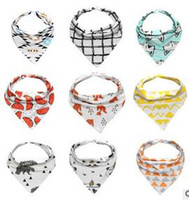 Wholesale 10 Styles Baby Burp Bandana Bibs Cotton Soft Kids Toddler Triangle Scarf Bib Cool Accessories Infant Saliva Towel hight quality free shippin