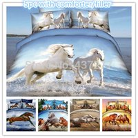 bedding with horses - 5pc brand new horse reactive printing bed duvet cover bedding sets for queen with bed sheet comforter bedclothes bed in a bag