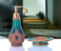 bathroom accesories - High Quality Resin Bathroom Set Piece Set Morocco Style Gemmy Emblema Decorated Noble Bathroom Accesories Personal Care Kit