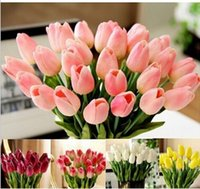 Cheap Wholesale New 20pcs lot Various Colors Beautiful Tulip Silk Flower Latex Real Touch for Home Decoration