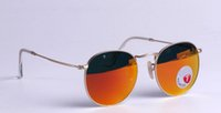 beach flashing - 2016 New Round Metal polarized Sunglasses Designer Eyewear Gold Flash Glass Lens For Mens Womens Mirror Sunglasses Round unisex sun glasses