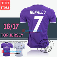 away white soccer - 2017 Thailand Quality Real madrid soccer Jerseys New Font RONALDO home white away Purple JAMES BALE RAMOS ISCO MODRIC football shirt