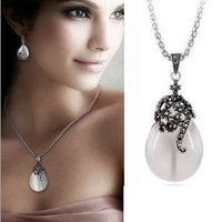 Wholesale Fashion women opal water drop earrings and necklace Vintage jewelry sets Ethnic style wedding jewelry gifts