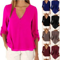 Wholesale Women Loose Chiffon Tops Cuffed Sleeve Shirt Casual Blouse V Neck Ladies Tee New