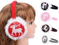 Wholesale faux fur deer design earmuff knit knitted ear warmer winter ear muffs Christmas gift