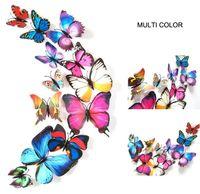 12 piezas de la mariposa creativa 3D colorido pegatinas de pared extraíble Inicio decoraciones del arte DIY de plástico de Navidad decoraciones de la boda regalo de los cabritos