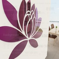 Wholesale New arrival Various color elegant lotus flower acrylic mirror wall stickers for girls bedroom decor living room RMYK